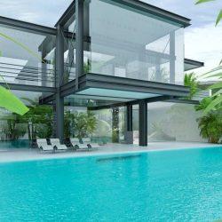 Balanço metálico sob piscina