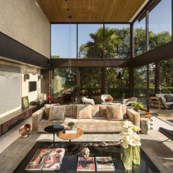 Projeto de sala de estar em estruturas metálicas