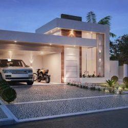 Projeto de uma residência com iluminação e com estilo contemporâneo