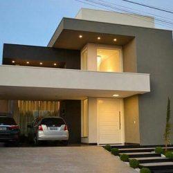 Residência alto padrão fachada moderna com iluminação